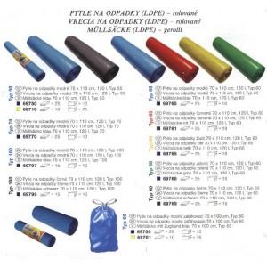 Vrecia na odpadky modré 70 x 110 cm,120l ,25ks